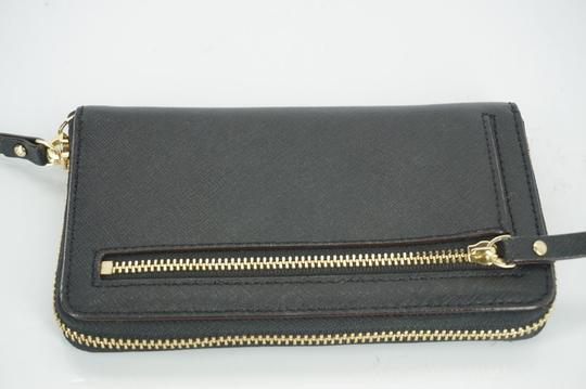 Kate Spade Black Textured Leather Cobble Hill Medium Lacey Continental Zip Wallet Image 6