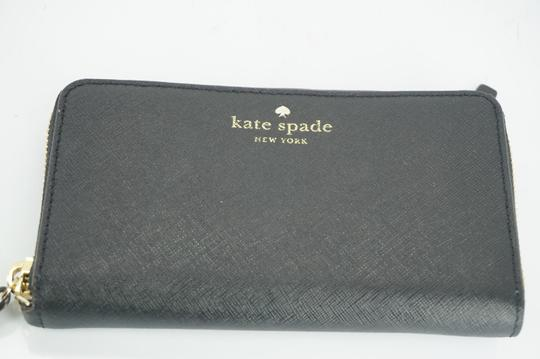 Kate Spade Black Textured Leather Cobble Hill Medium Lacey Continental Zip Wallet Image 7