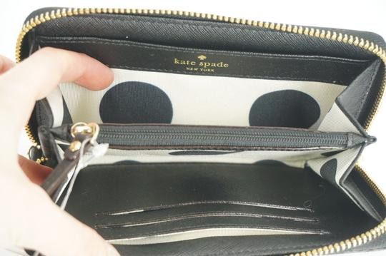 Kate Spade Black Textured Leather Cobble Hill Medium Lacey Continental Zip Wallet Image 8