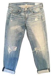 Rag & Bone Distressed Ripped Denim Boyfriend Cut Jeans-Medium Wash