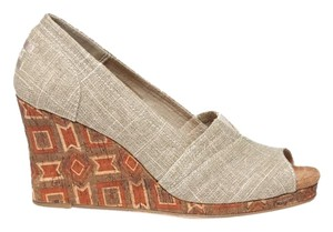 TOMS Metallic Linen Wedges