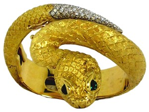 Amazing Italian Gold Snake Bangle Bracelet