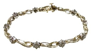 Zales ZALES 10K WHITE & YELLOW GOLD 2CT (110) DIAMONDS FLOWER TENNIS BRACELET