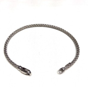 Zales ZALES 14K White Gold Woven Foxtail Italian Bracelet Claw Clasp Closure
