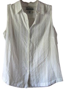 Columbia Sleeveless Cotton Button Down Shirt White with Gold Stripes