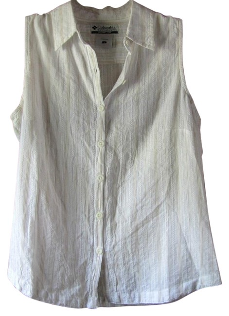 Columbia sportswear company white with gold stripes button for Sleeveless cotton button down shirts