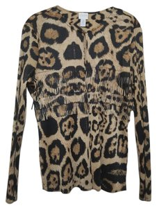 Chico's Light Long Sleeve Leopard Print Jacket