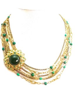 Rachel Reinhardt New, Stunning Rachel Reinhardt Gold-Tone Emerald Asymmetrical Statement Necklace