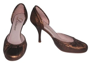 Delman Leather Rounded Toe Bronze Metallic Pumps