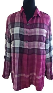 Burberry Button Down Shirt Pink, plum and white plaid
