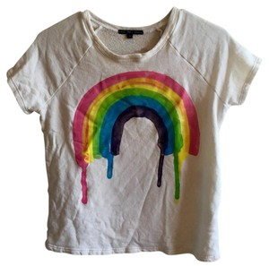 Truly Madly Deeply Urban Outfitters Sweatshirt T-shirt Painted T Shirt White and rainbow