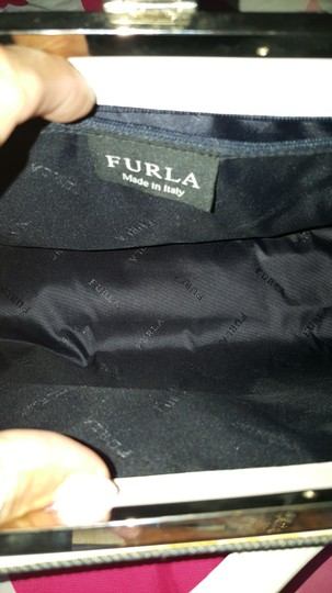 Furla Satchel in Denim an white with silver hardware Image 1