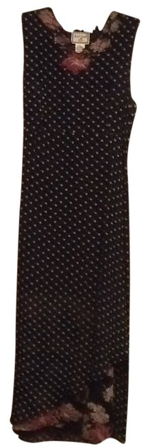 Item - Black with Green Dots Floral Accents Mid-length Night Out Dress Size 6 (S)