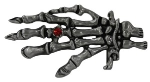 Other New Men Women Metal Trendy Belt Buckle Antique Silver Big Skeleton Hand Skull Halloween