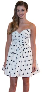 White and Black polka dot dress strapless Dress