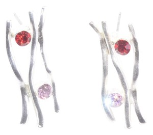 Other Pewter Crystal Abstract Earrings w/ Multi Colored Crystal Design