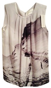 MARY KATRANTZOU Silk Print Spring Summer T Shirt BLACK