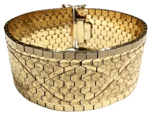 18K YELLOW GOLD MASSIVE 27MM WIDE WOVEN FLEX LINK BRACELET