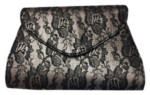 Neiman Marcus Lace Evening Metallic Rose and Black Clutch