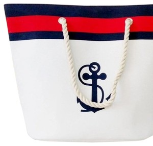 Tote Straw Navy Blue, White, Black Beach Bag