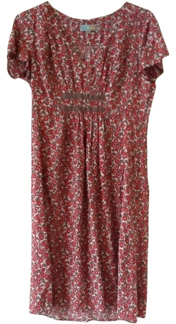 Item - Pink Brown Beige Floral Tea Length Mid-length Night Out Dress Size 10 (M)