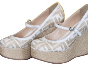 Fendi White and Tan Wedges
