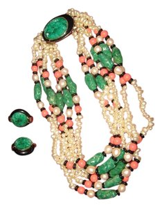 Kenneth Jay Lane RARE Oriental Kenneth Jay Lane Carved Faux Jade, Coral and Onyx Torque & Earrings