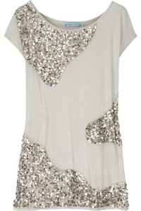 Alice + Olivia Sequin Embellished Spring T Shirt Gray