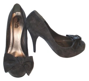 Charlotte Russe Suede Bow Hidden Platform Heels Night Out Grey Pumps
