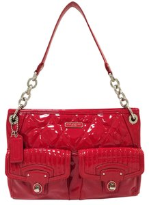 Coach Patent Leather Red Large Poppy 18678 Cross Body Bag