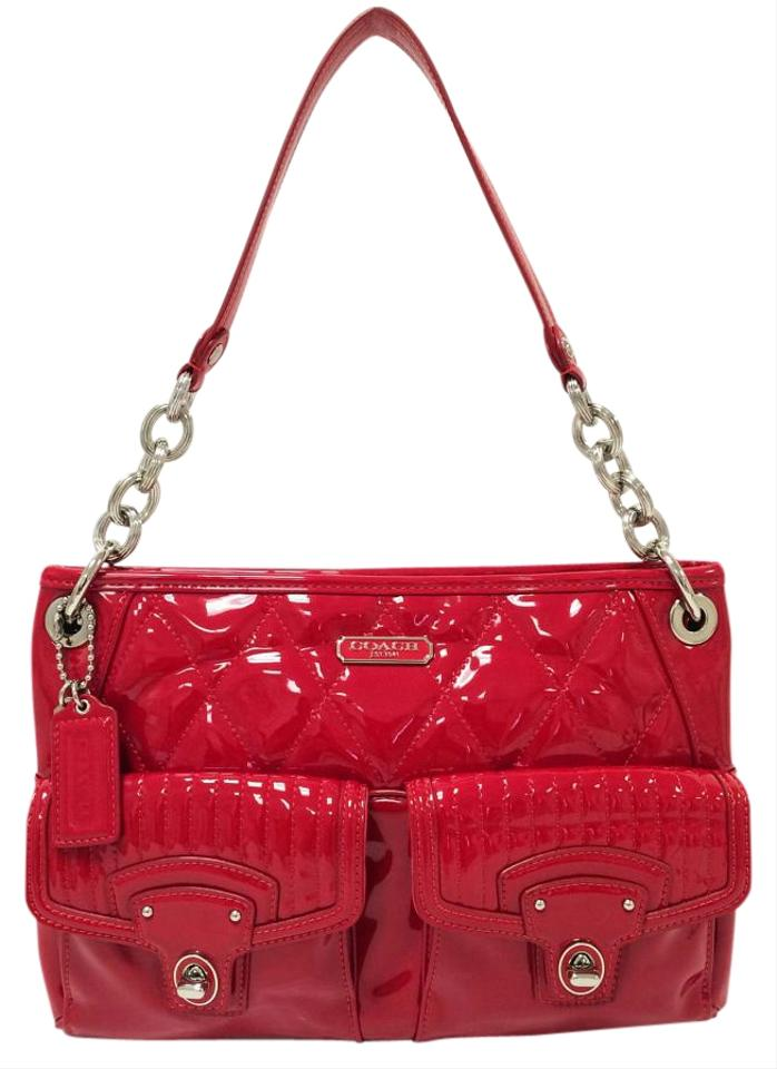 1075939049df Coach 18678 Poppy Liquid Gloss Large Hippie Cherry Red Patent Leather Cross  Body Bag
