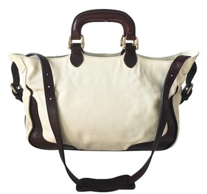 Fendi Leather Satchel in CREAM AND BROWN