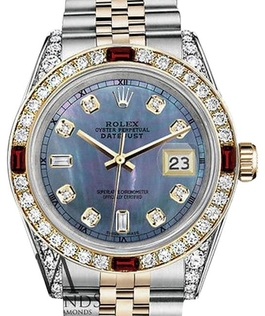 Rolex Women's Steel & Gold 31mm Datejust Mop Dial Ruby & Diamond Watch Rolex Women's Steel & Gold 31mm Datejust Mop Dial Ruby & Diamond Watch Image 1