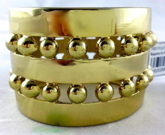 "Other New Bloomingdales Sequin Iron Maiden Large Gold 1.75"" Wide Cuff Geometric Hinged Bracelet"