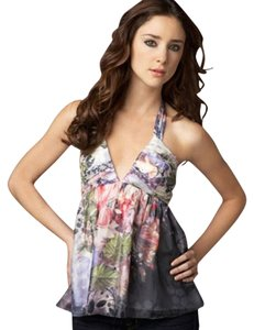 Alice + Olivia Floral Silk Spring Summer Sweetheart Multicolor Halter Top