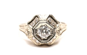 Antique Art Deco Antique Diamond Art Deco 18K White Gold Diamond Filigree Ring