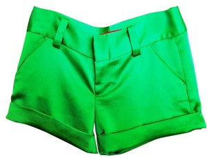 Alice + Olivia Satin Spring Summer Casual Cuffed Shorts Green