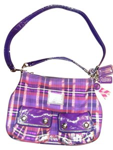 Coach Poppy New And Satchel in purple pink shimer plaid