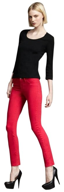 Item - Shocking Pink Medium Wash Mid Rise Luxe Twill Skinny Jeans Size 30 (6, M)