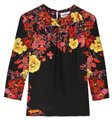 ERDEM Floral Silk Fall Winter Casual T Shirt Black