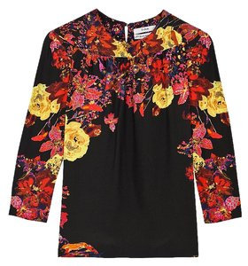 ERDEM Floral Silk Fall Winter T Shirt Black