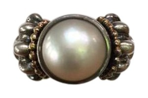 Lagos Lagos Signature Caviar Sterling Silver & 18K Gold Pearl Ring