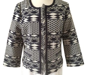 Laundry by Shelli Segal Navy Blue & White Blazer
