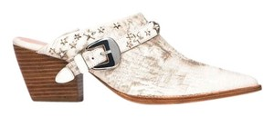 Matisse Kate Bosworth Metal Star Leather Embellished White Mules