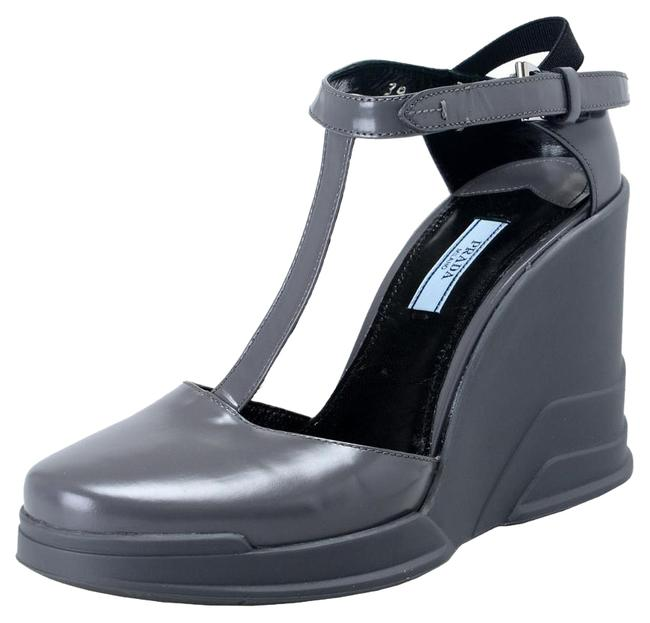 Item - Gray Leather Ankle Wedges T-strap Sandals Size US 9 Regular (M, B)