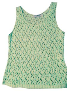 Cotton Emprium Loose Crochet Knit 22 In. Long Top Mint green