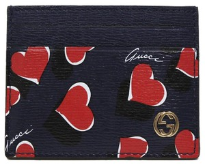 Gucci Gucci Heartbeat Navy Blue Leather Business Card Case Wallet 334483