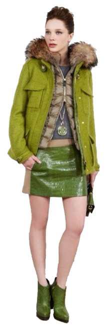 Item - Green Mohair and Alligator Patchwork Gold Clasp Jacket Rare Coat Size 6 (S)