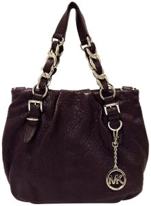 Michael Kors Leather Tote Purple Chain Weaved Crossbody Shoulder Bag