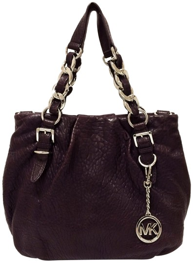 Michael Kors Leather Tote Purple Chain Weaved Crossbody Shoulder Bag Image 0